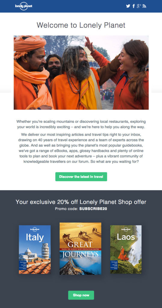 E-Mail von Lonely Planet Shop